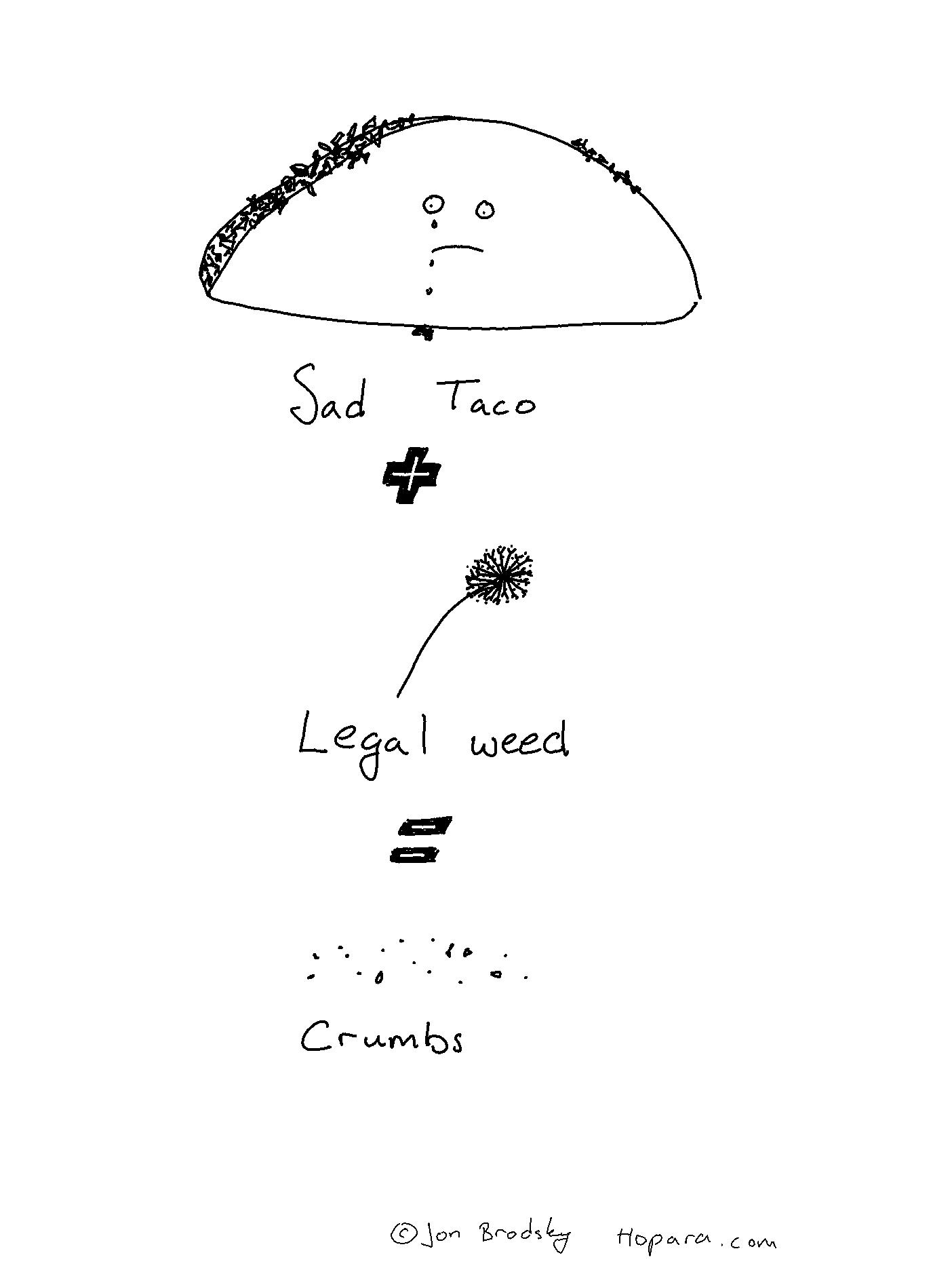sad taco plus legal weed equals crumbs copyright jon brodsky hopara.com
