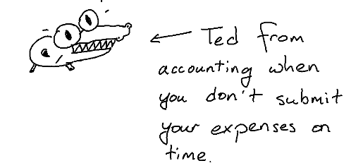 Ted from accounting when you don't submit your expenses on time copyright jon brodsky